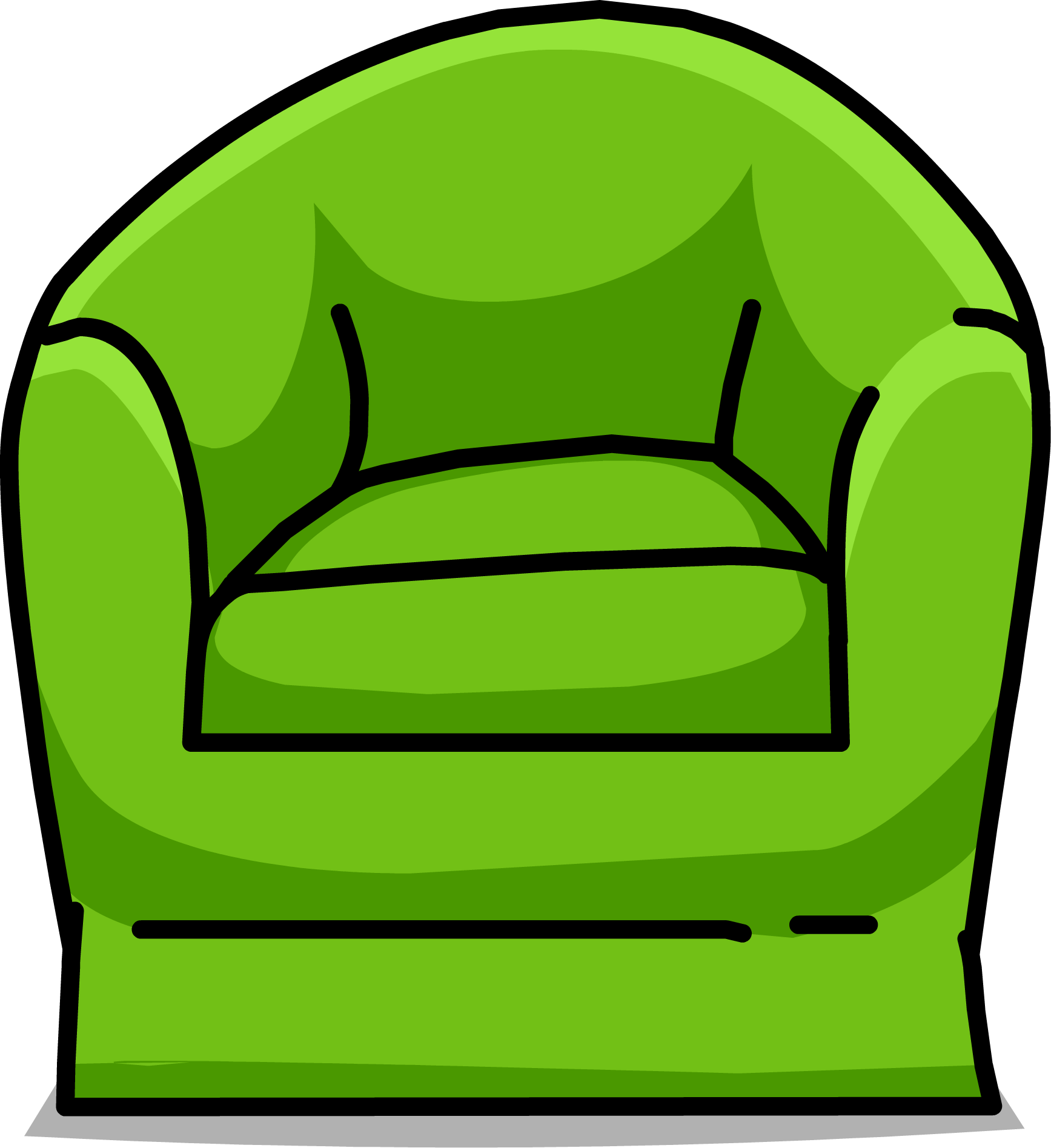 Scoop chair club penguin. Couch clipart green couch