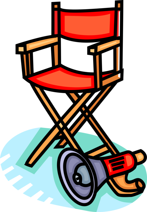 Clipart chair hollywood director. S and megaphone vector