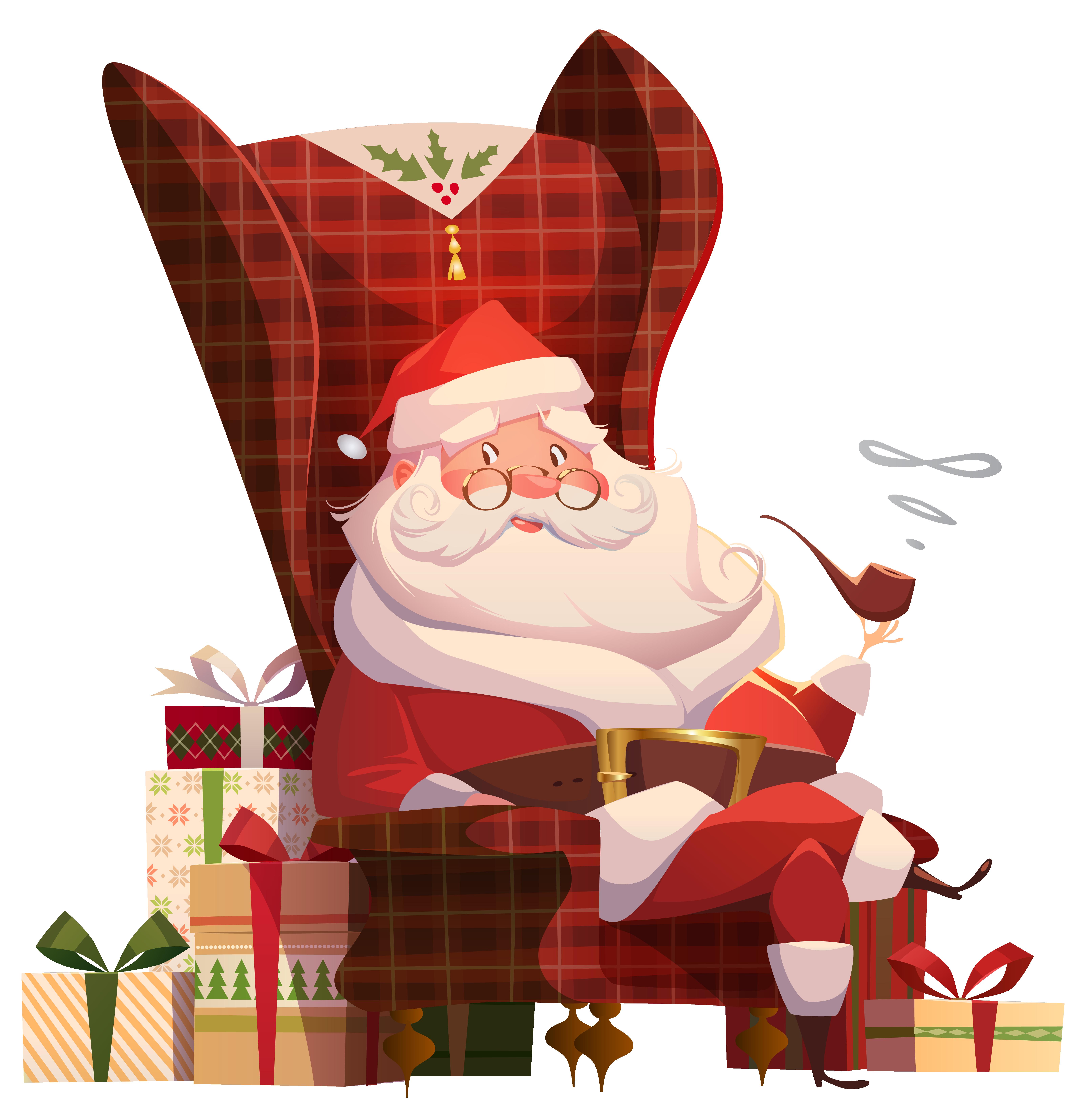 Clipart chair illustration. Santa claus on transparent