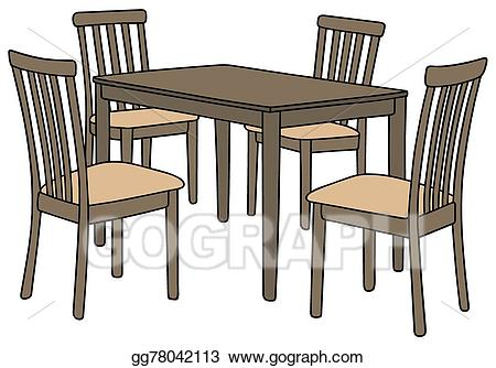 Vector illustration table and. Clipart chair kitchen chair