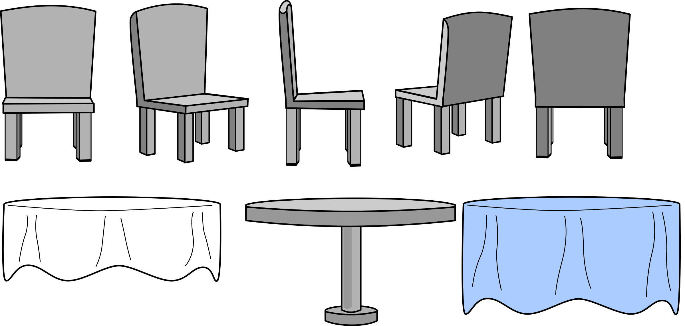 Furniture clipart kitchen furniture. Table and chairs with