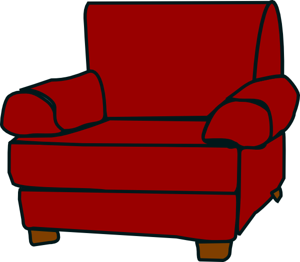 Crimson red armchair clip. Couch clipart lounge chair