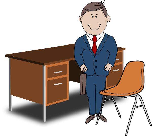 Teacher manager between and. Clipart desk desk chair