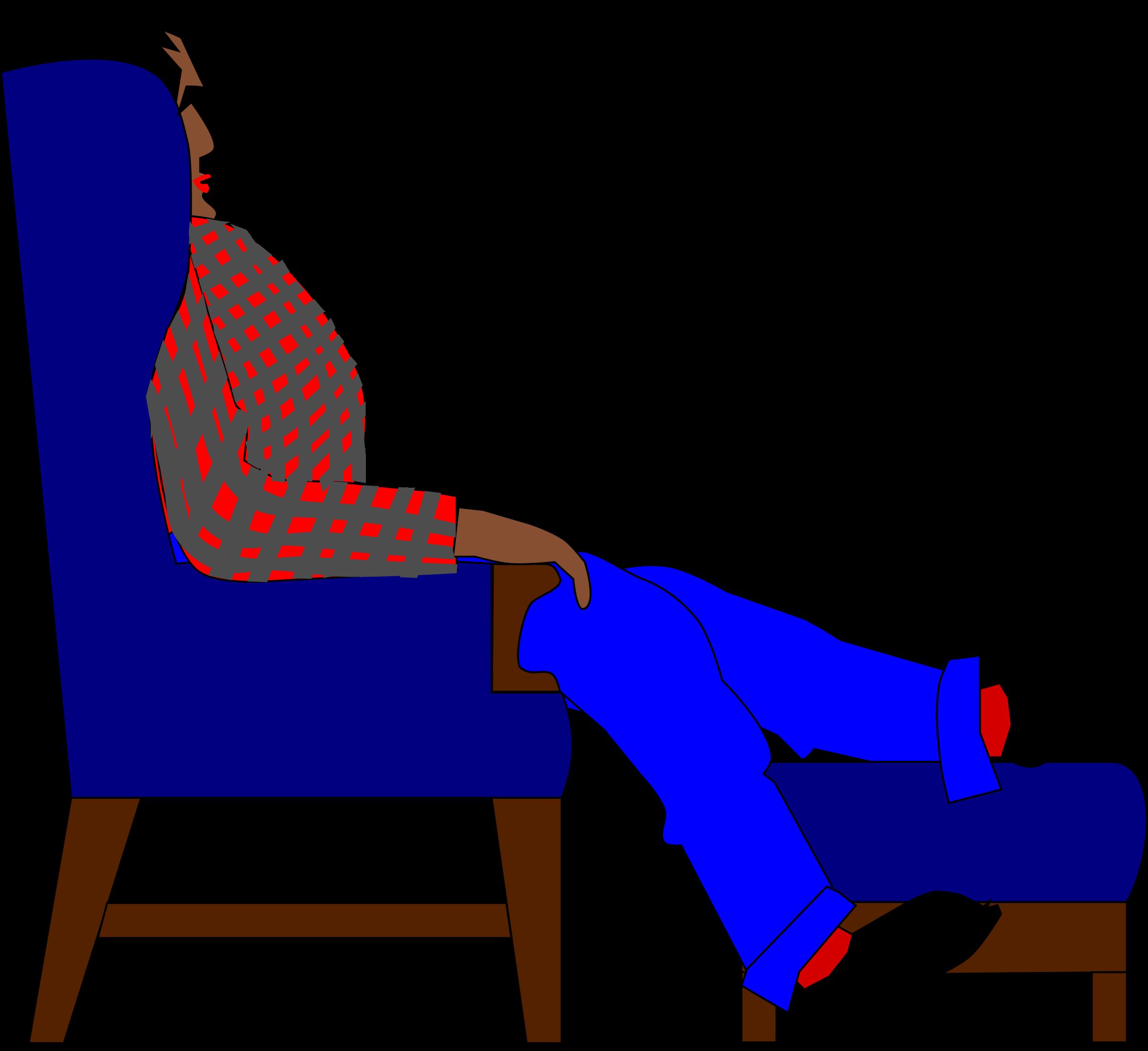 Furniture clipart easy chair. Man in an easychair