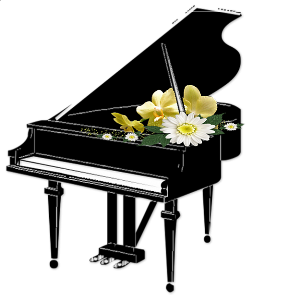 White clipart piano. Black with flowers transparent