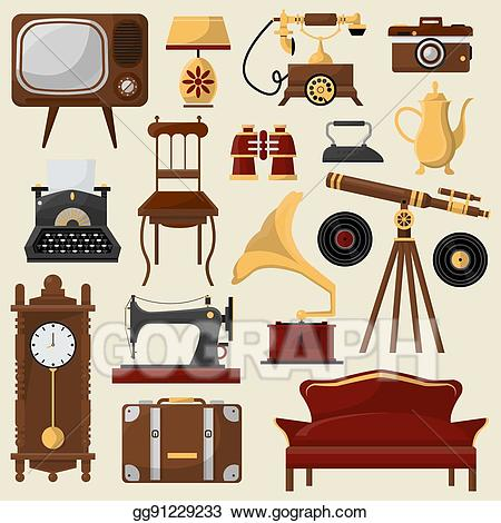 Furniture clipart home accessory. Vector art vintage and