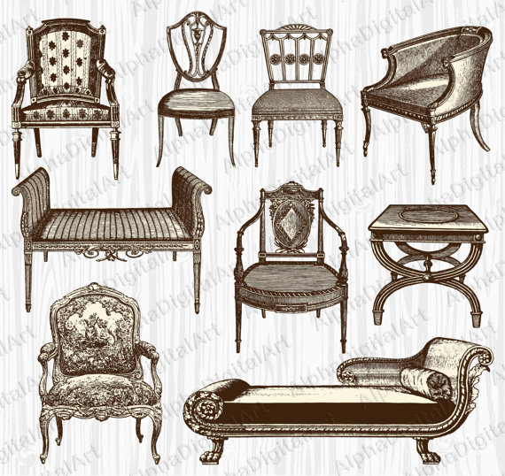 Furniture clipart vintage furniture.  desk chair
