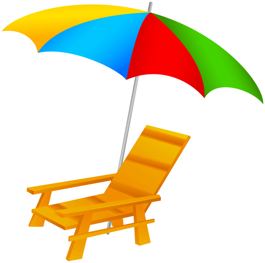Beach umbrella and png. Clipart chair sea