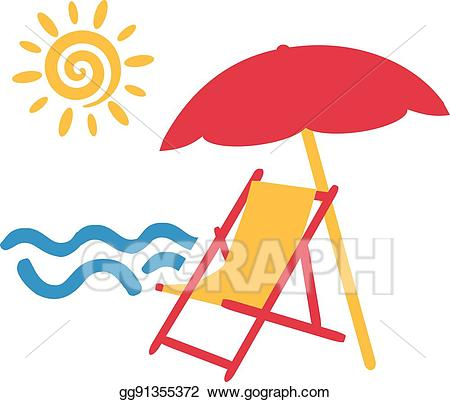 Clipart chair sea. Vector stock beach with