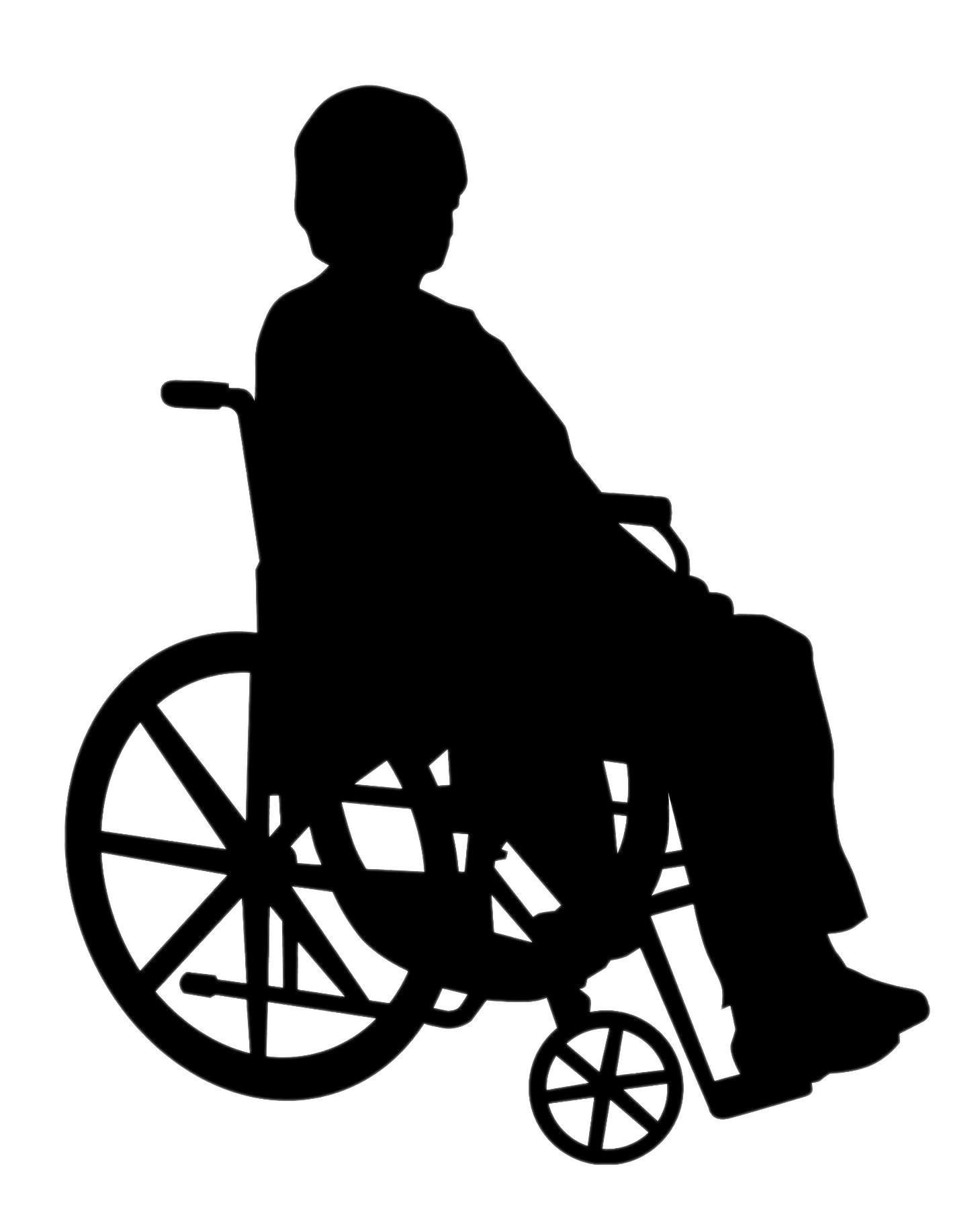 Hospital clipart silhouette. Lady in wheelchair transparent