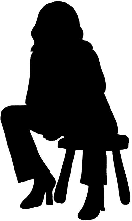 Silhouette of girl reading. Humans clipart few person