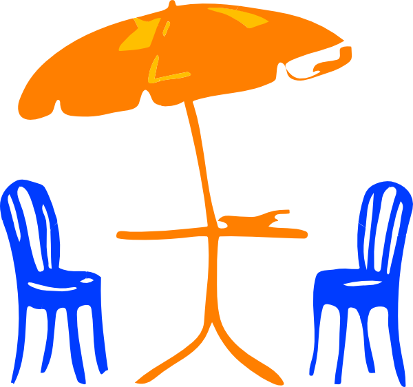 Furniture clipart chair. Table with umbrella and