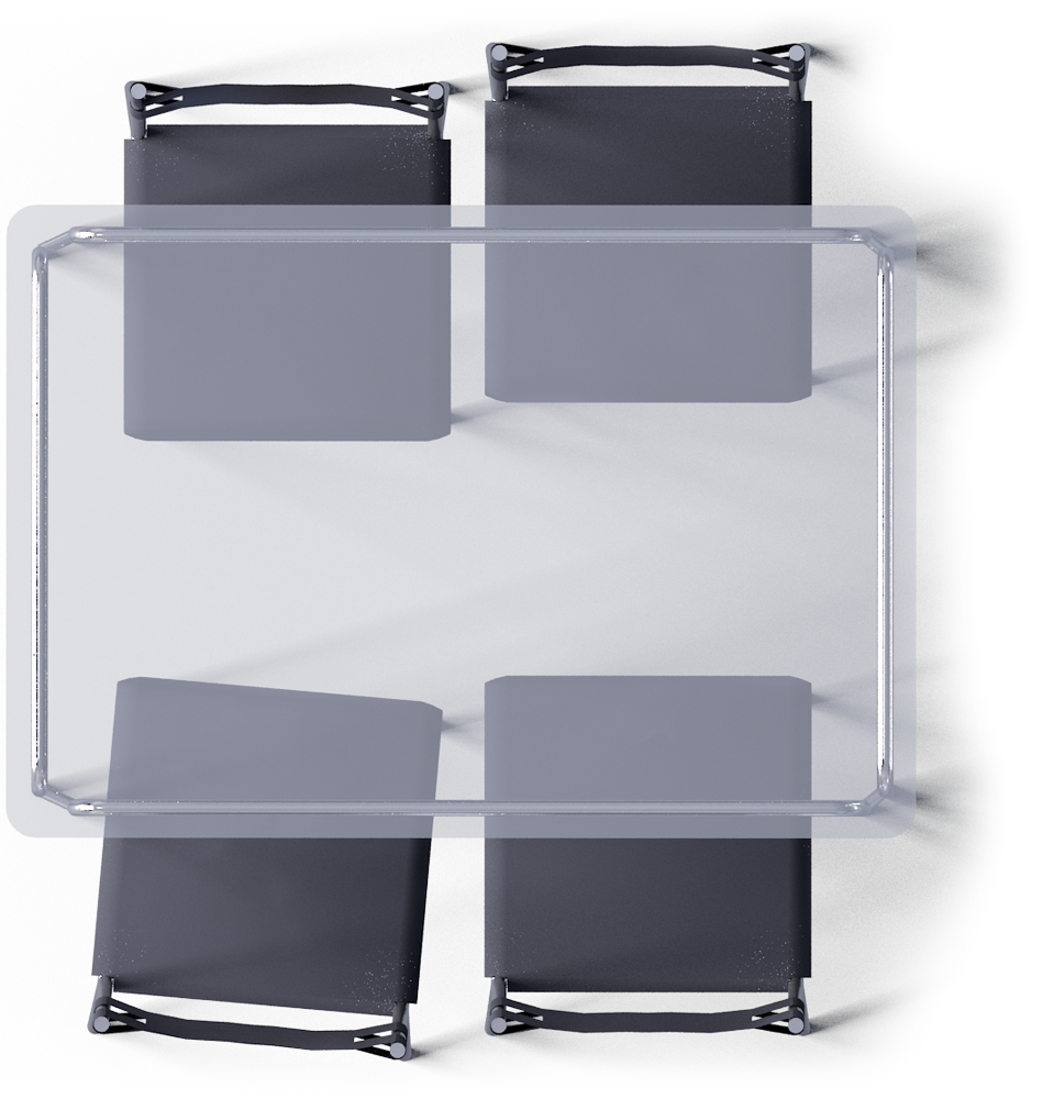 Laver table and chairs. Clipart chair top view