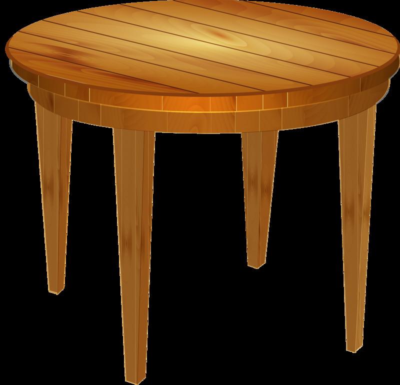 Empty round wood table. Desk clipart literature