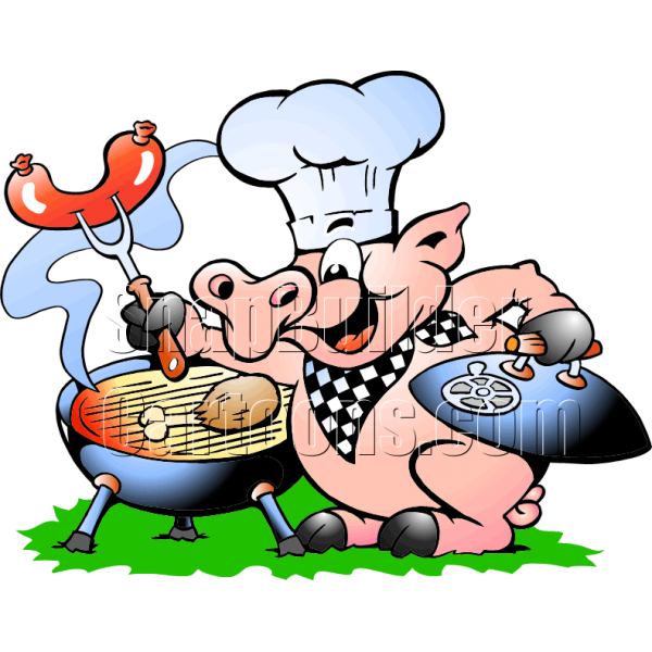 Chef bbq grill cooking. Clipart pig chicken