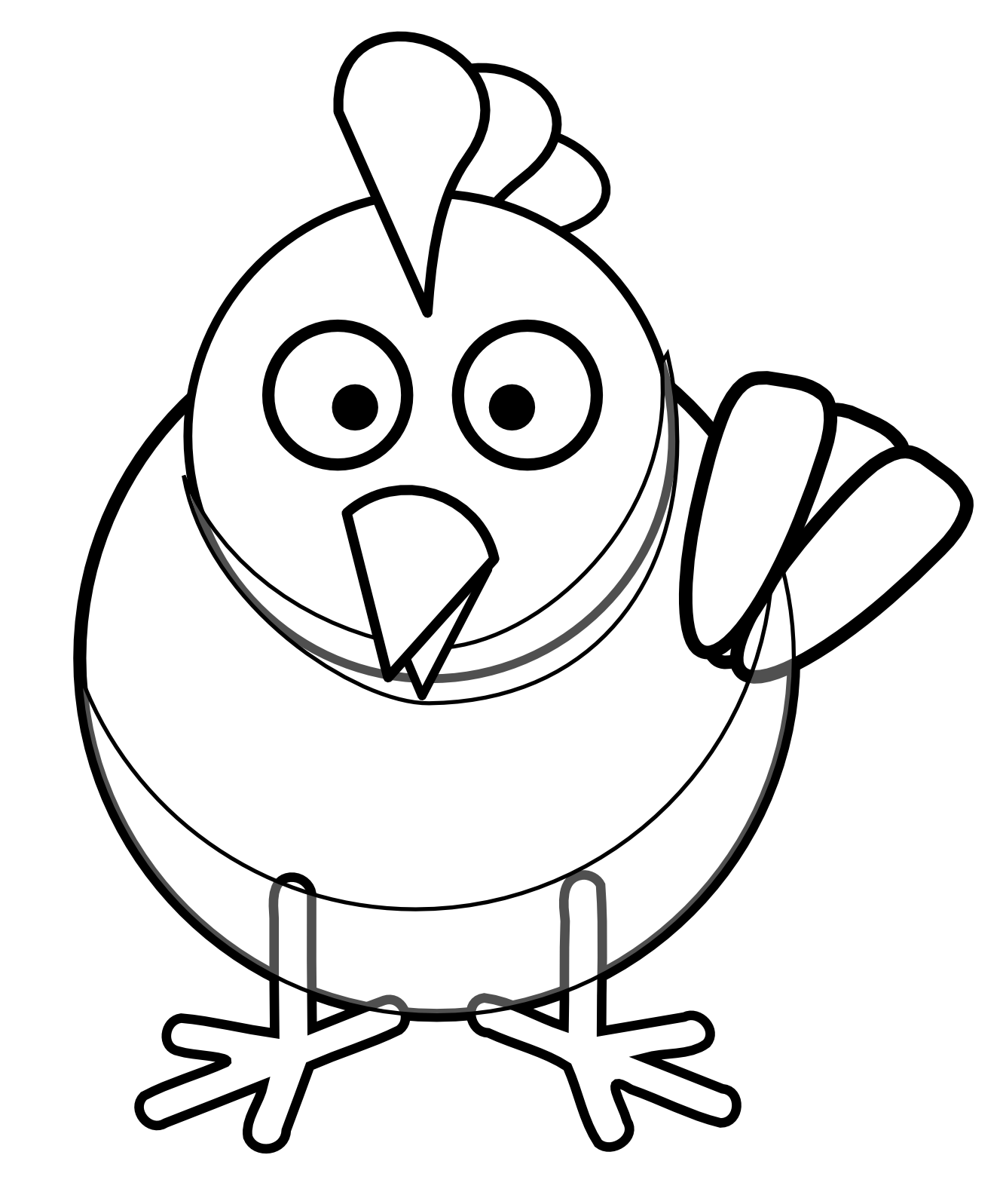 Cute chicken black and. Hen clipart cluck