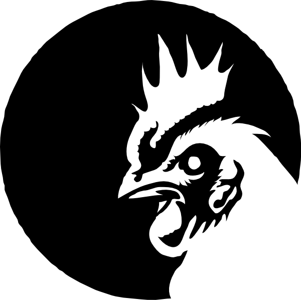 Clipart chicken black and white. Profile no eyeball clip