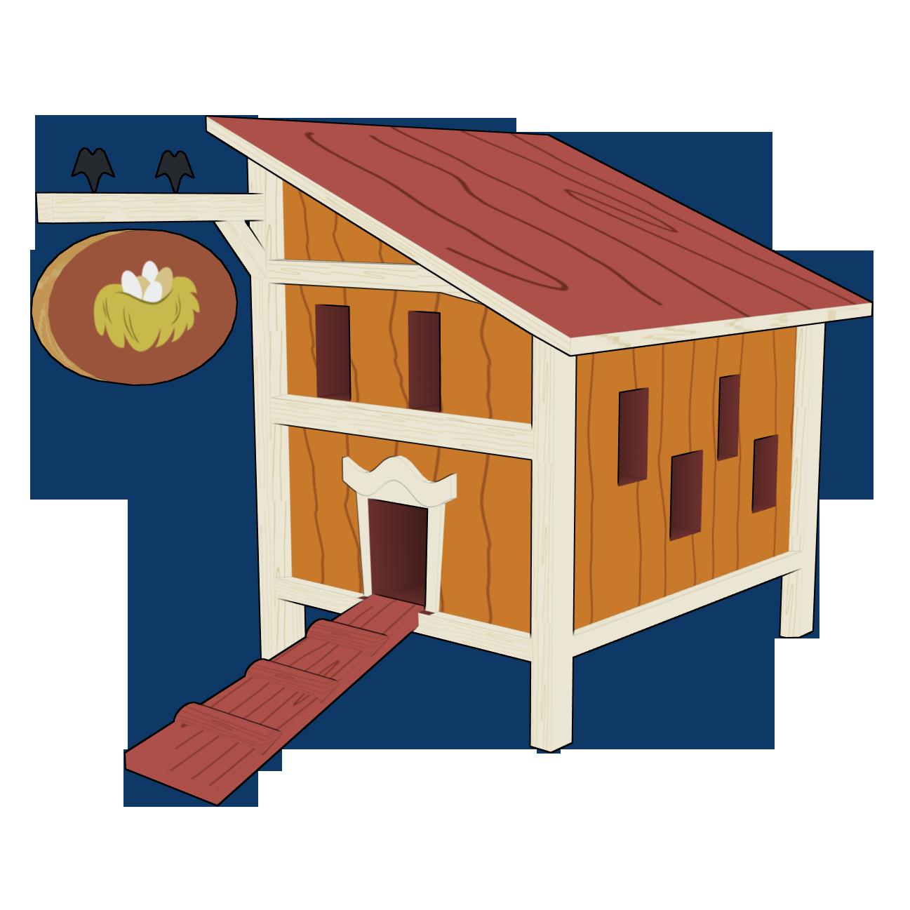Coop paper farm clip. Home clipart chicken