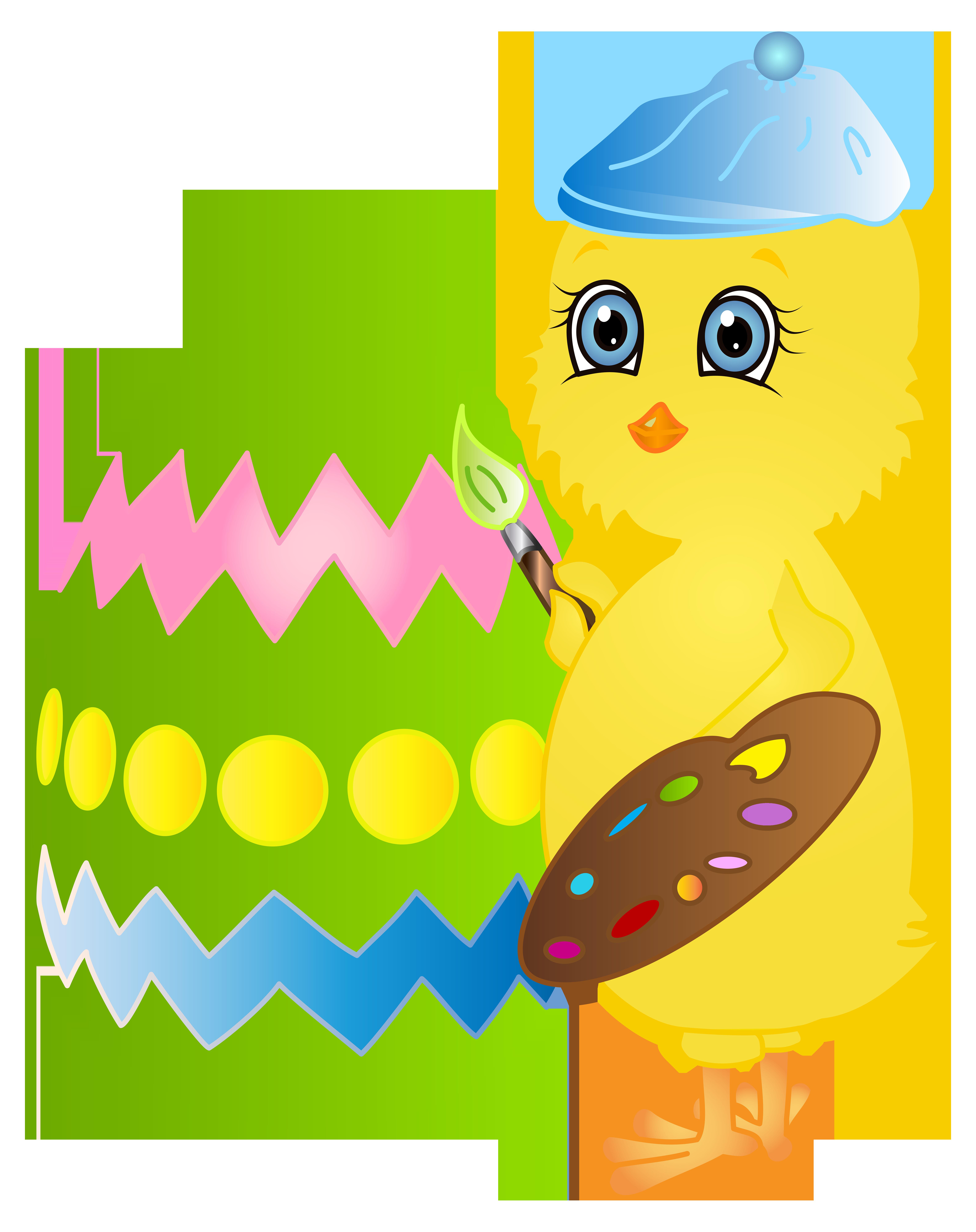 Easter chicken painting egg. Painter clipart clip art