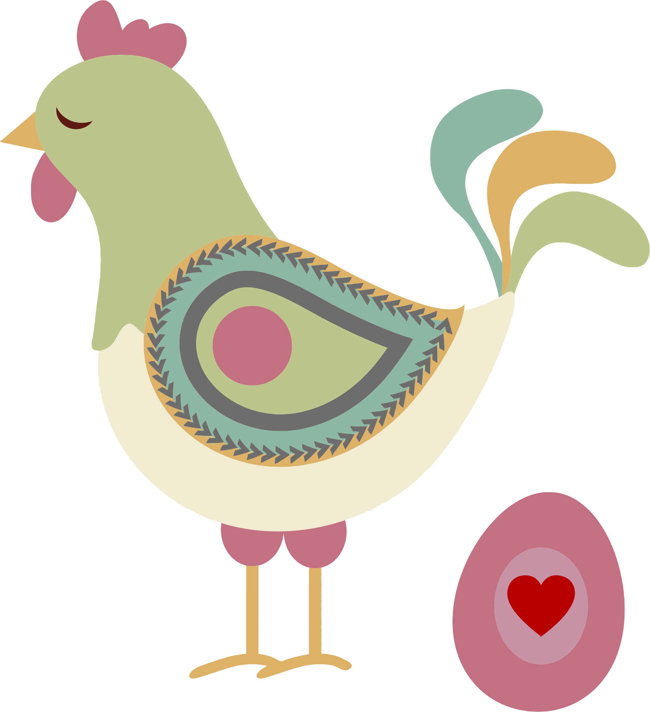Abstract chicken and big. Hen clipart egg