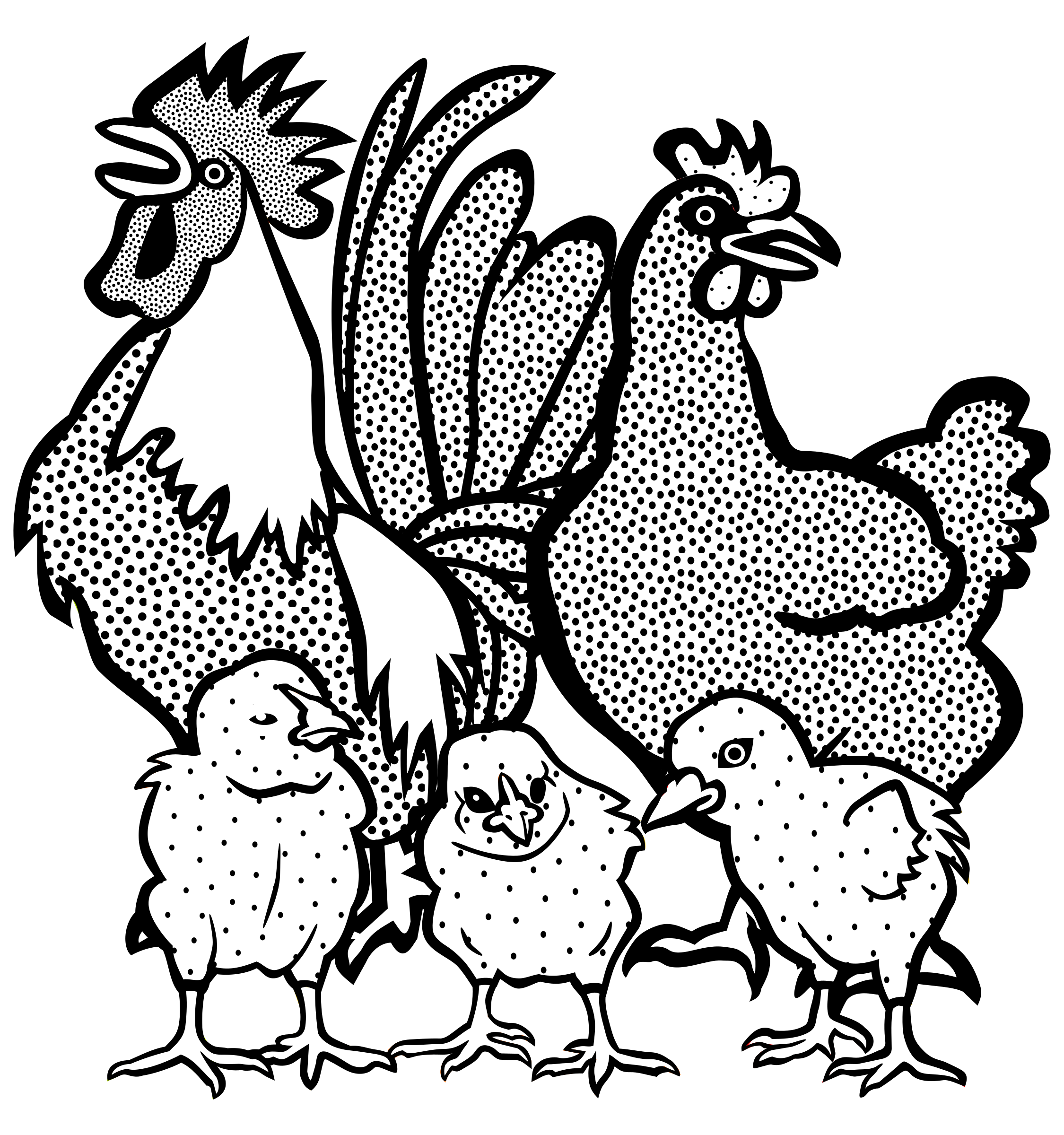 Hen clipart animal family. Chickens lineart big image