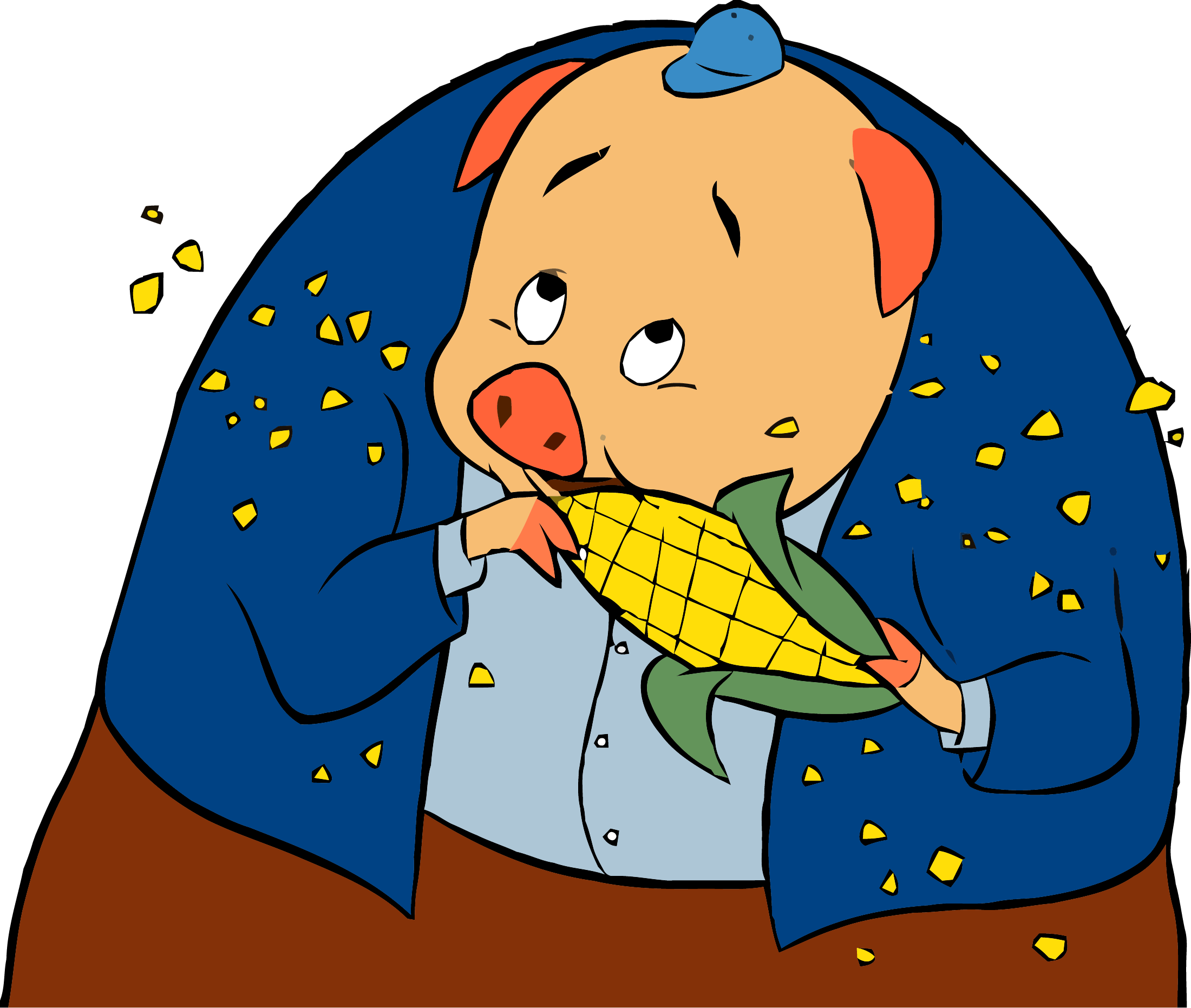 Clipart pig chicken. Little corn png clipartly