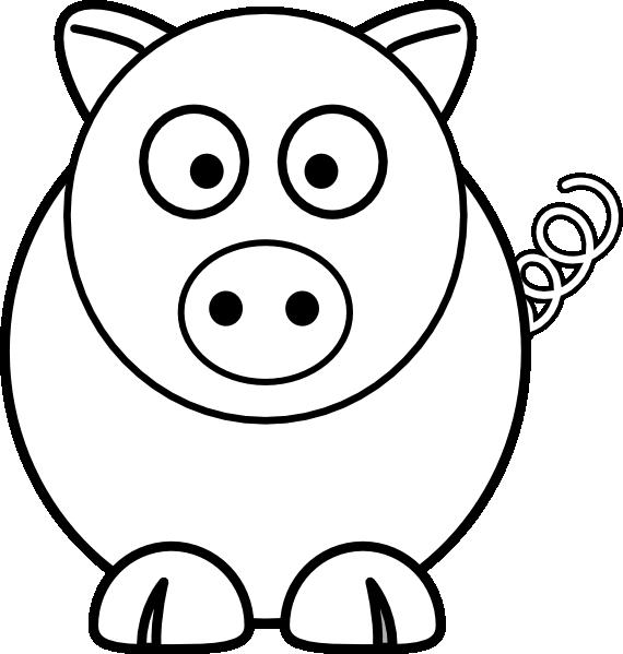 E clipart black and white. Cartoon pig clip art