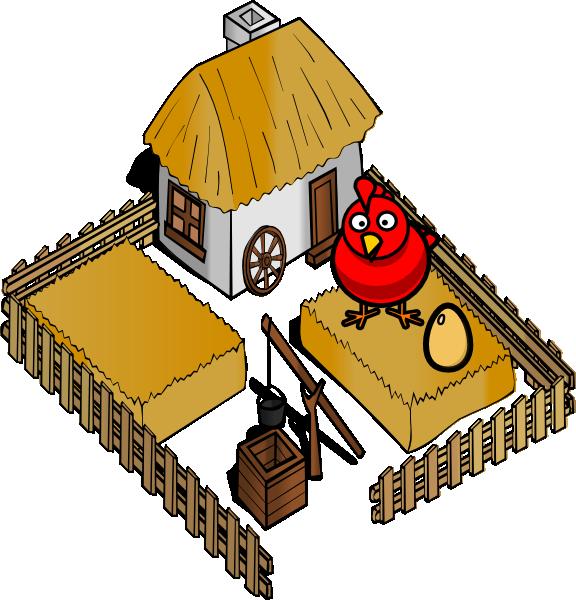 Home clipart chicken. Hen on a farm