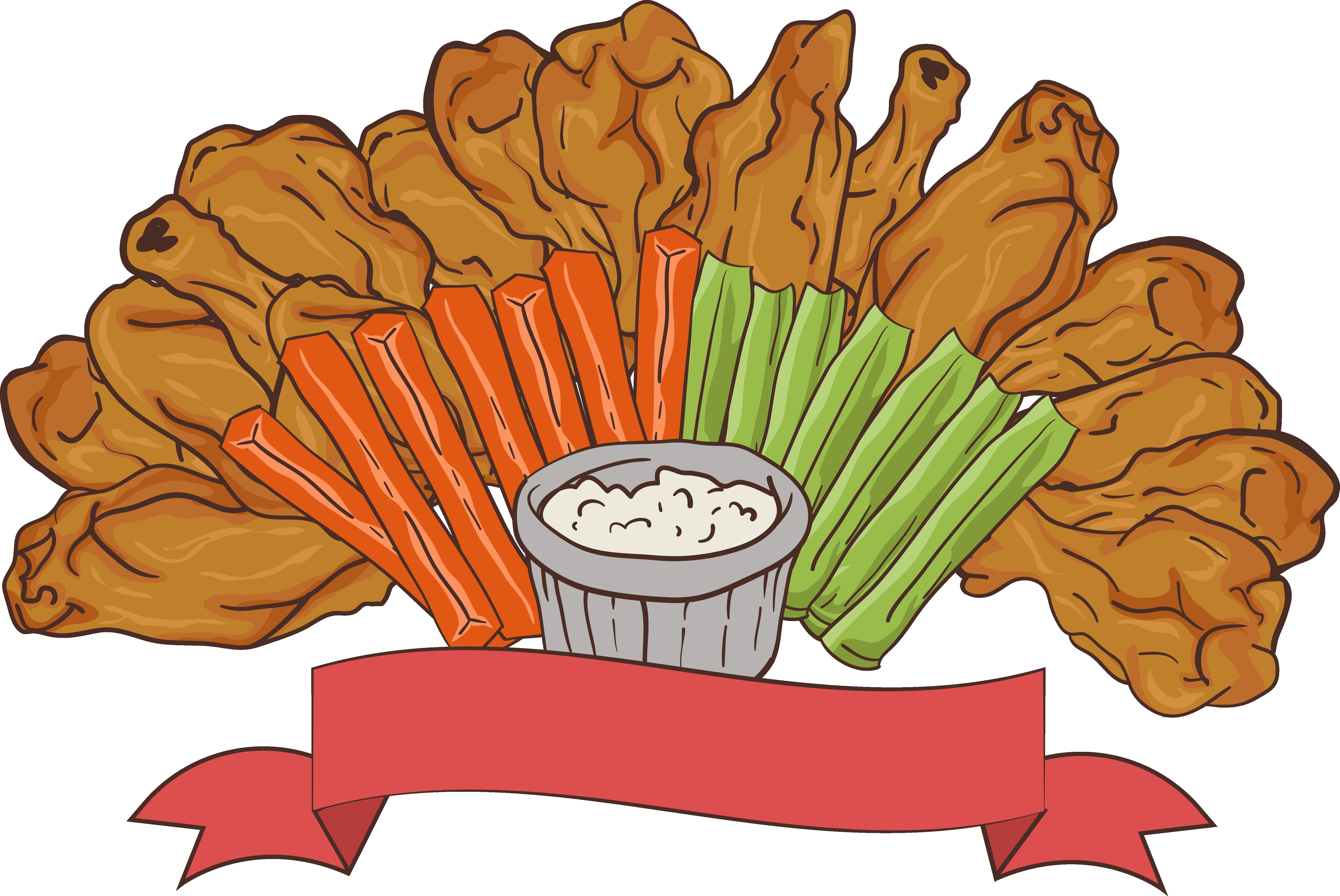 Korean fried chicken buffalo. Fries clipart appetizer