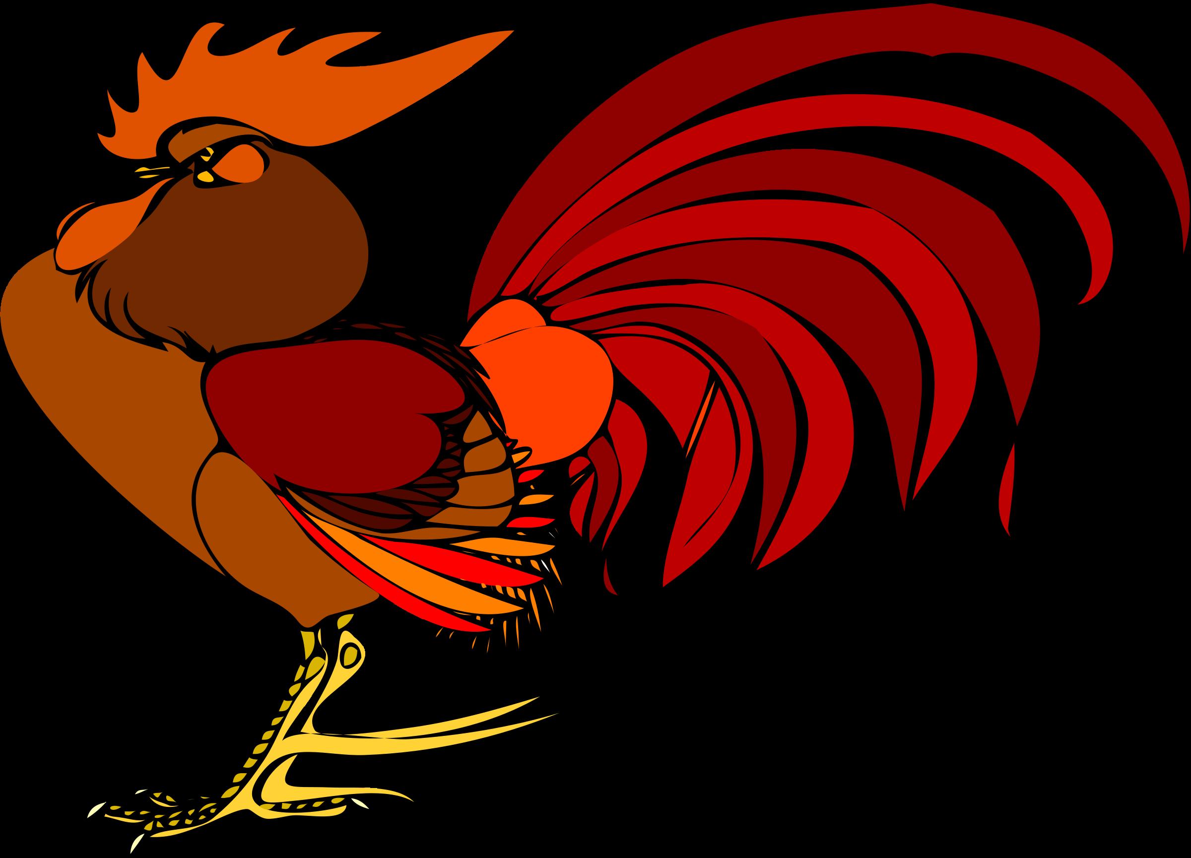 Gallo di profilo big. Clipart walking chicken