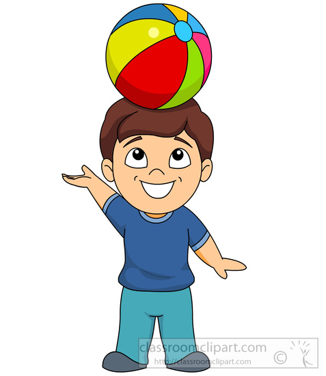 Children child balancing ball. Son clipart