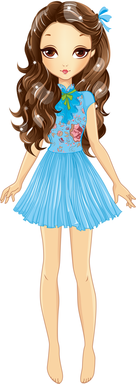 Clipart children fashion. Beautiful girl with white