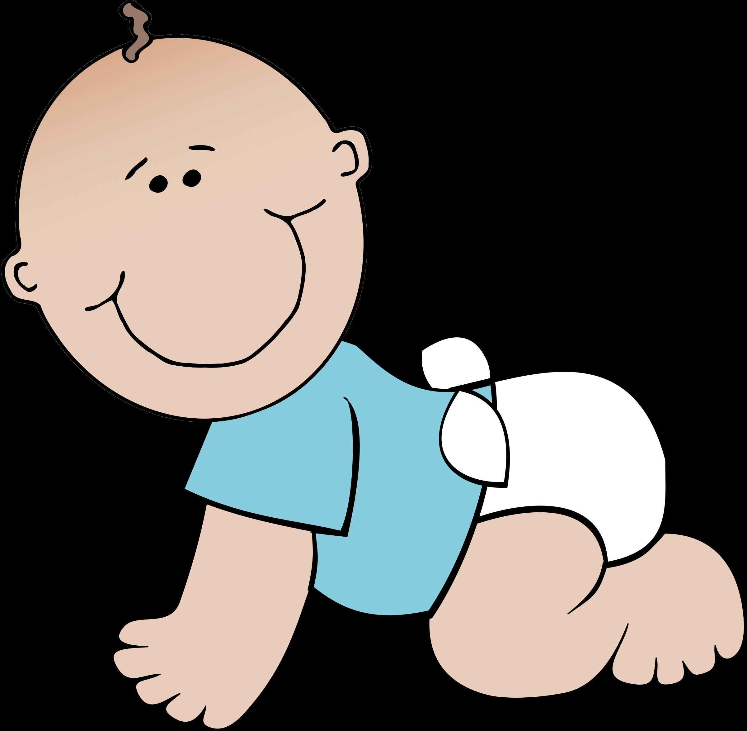 Baby crawling big image. Clipart child boy