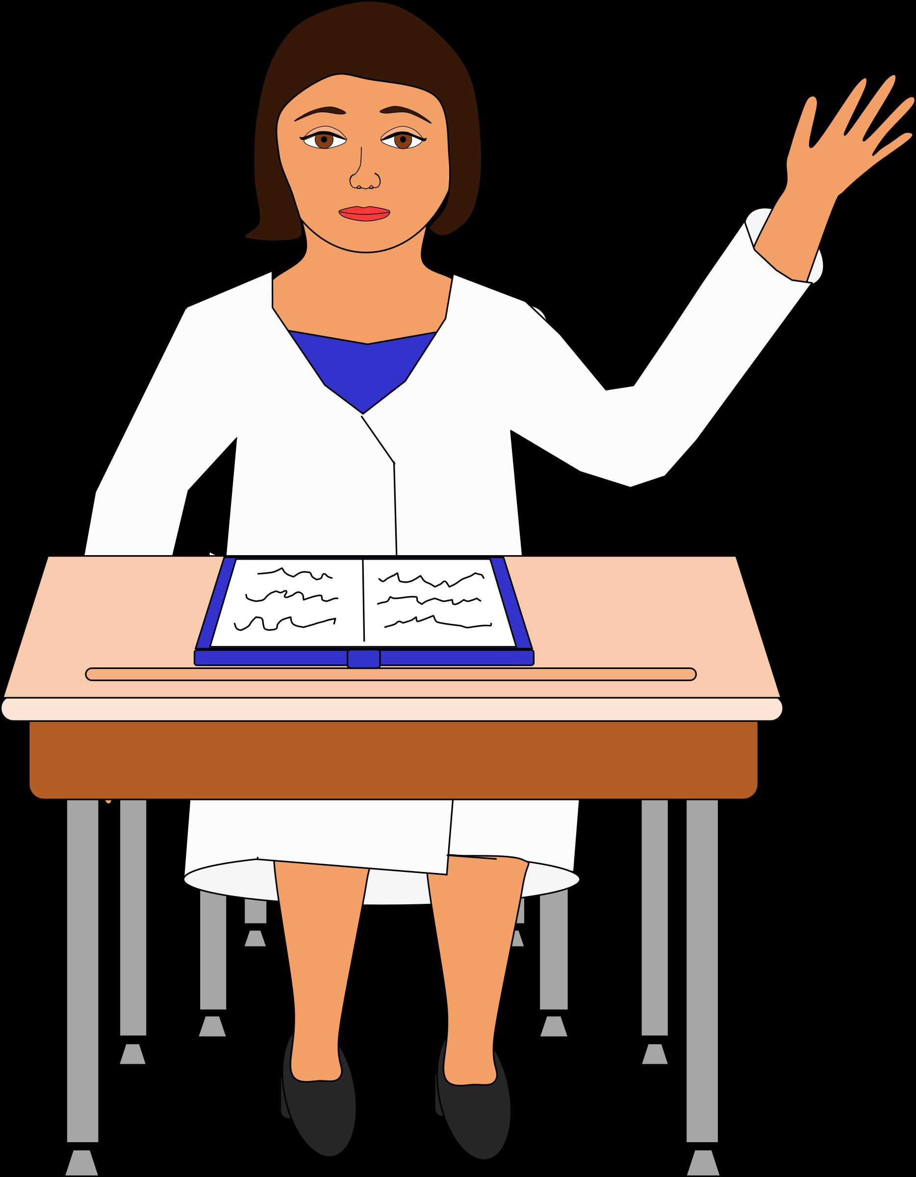 Desk clipart person. Girl raising her hand
