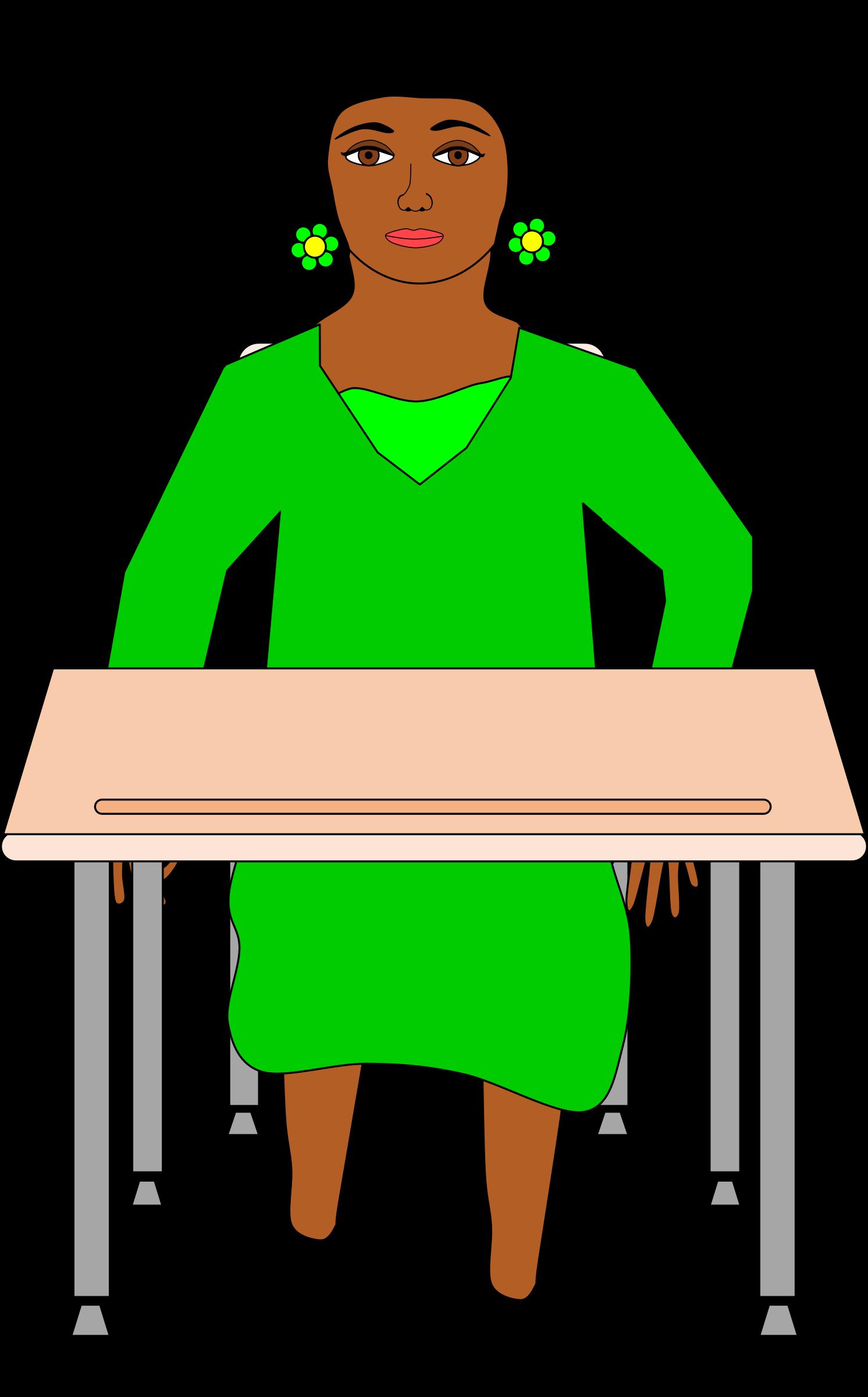 Girl in pigtails sitting. Clipart desk standardized test
