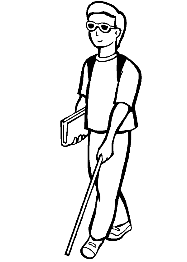A disabled young man. Person clipart disability