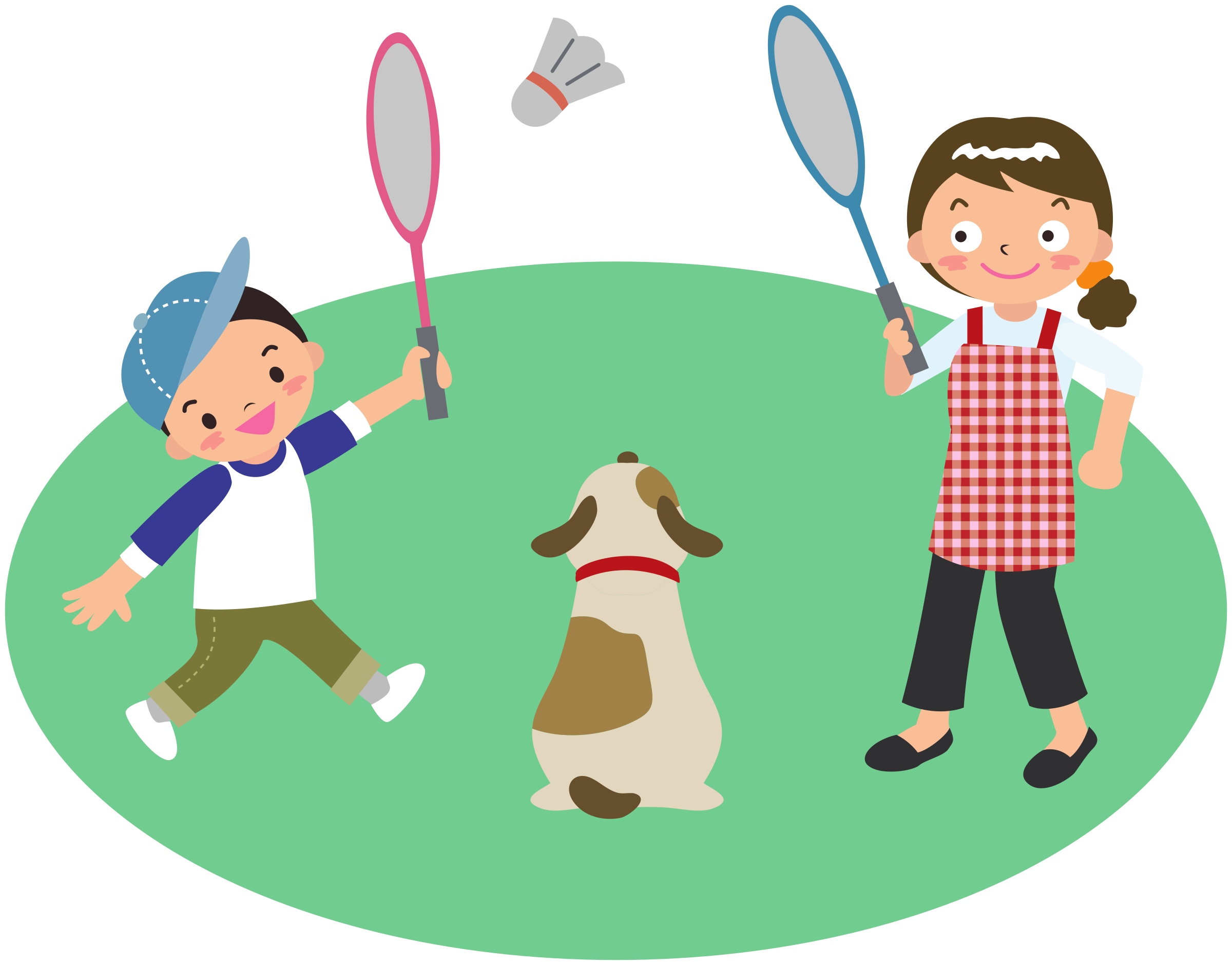 Clipart child dog. Mother plays badminton with