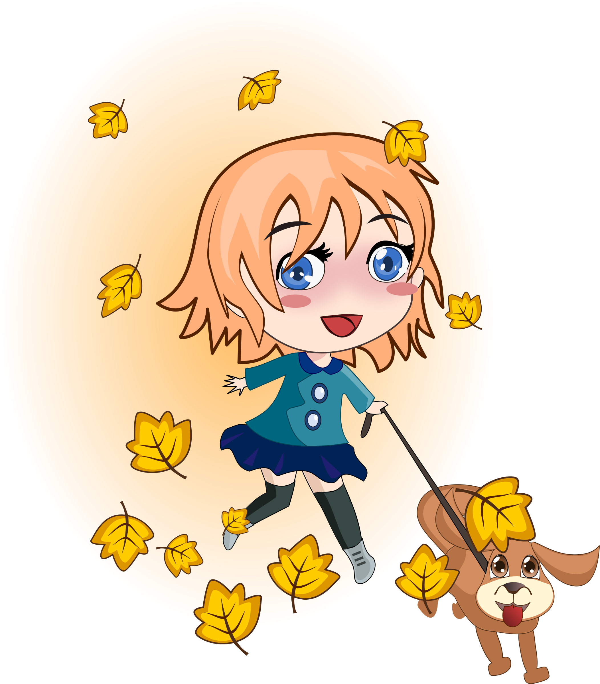 Clipart dog person. Girl and running big