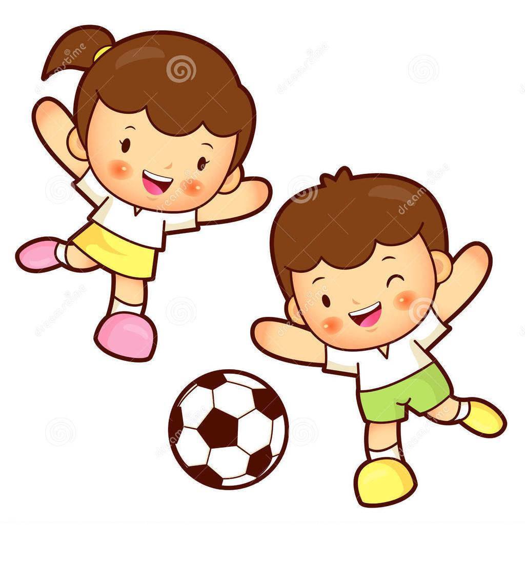 Kids playing children free. Clipart child football