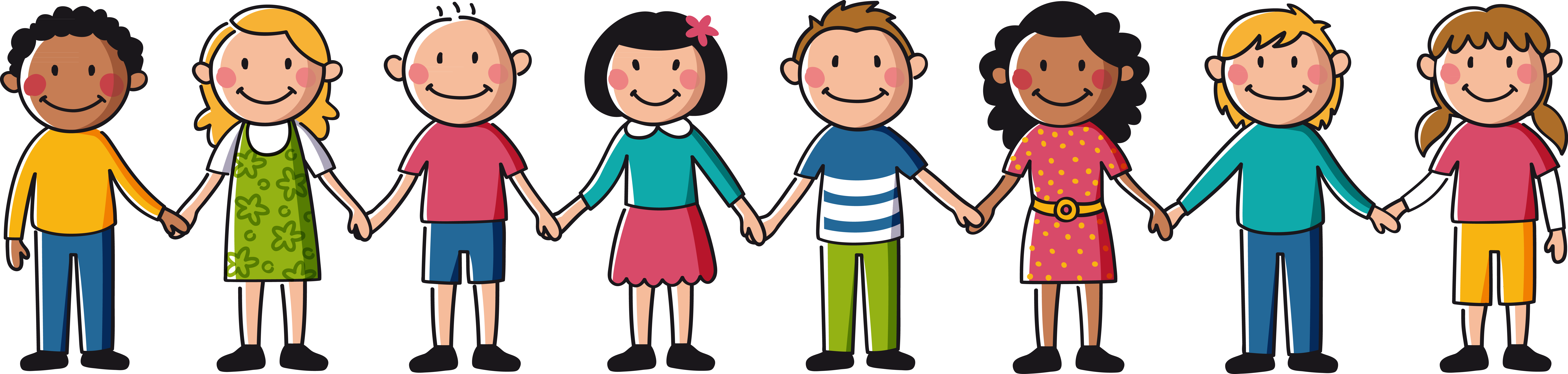 Hand clipart friend. Kids holding hands drawing