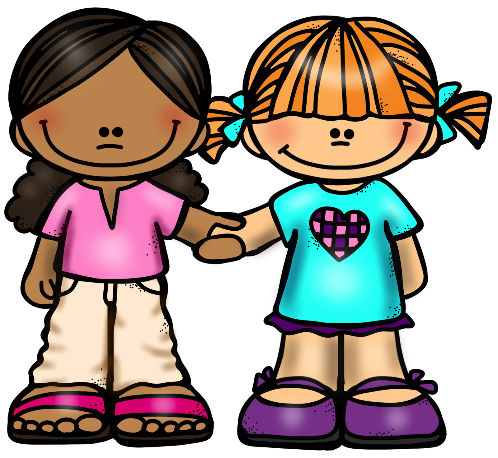 Girl friends holding hands. Respect clipart many friend
