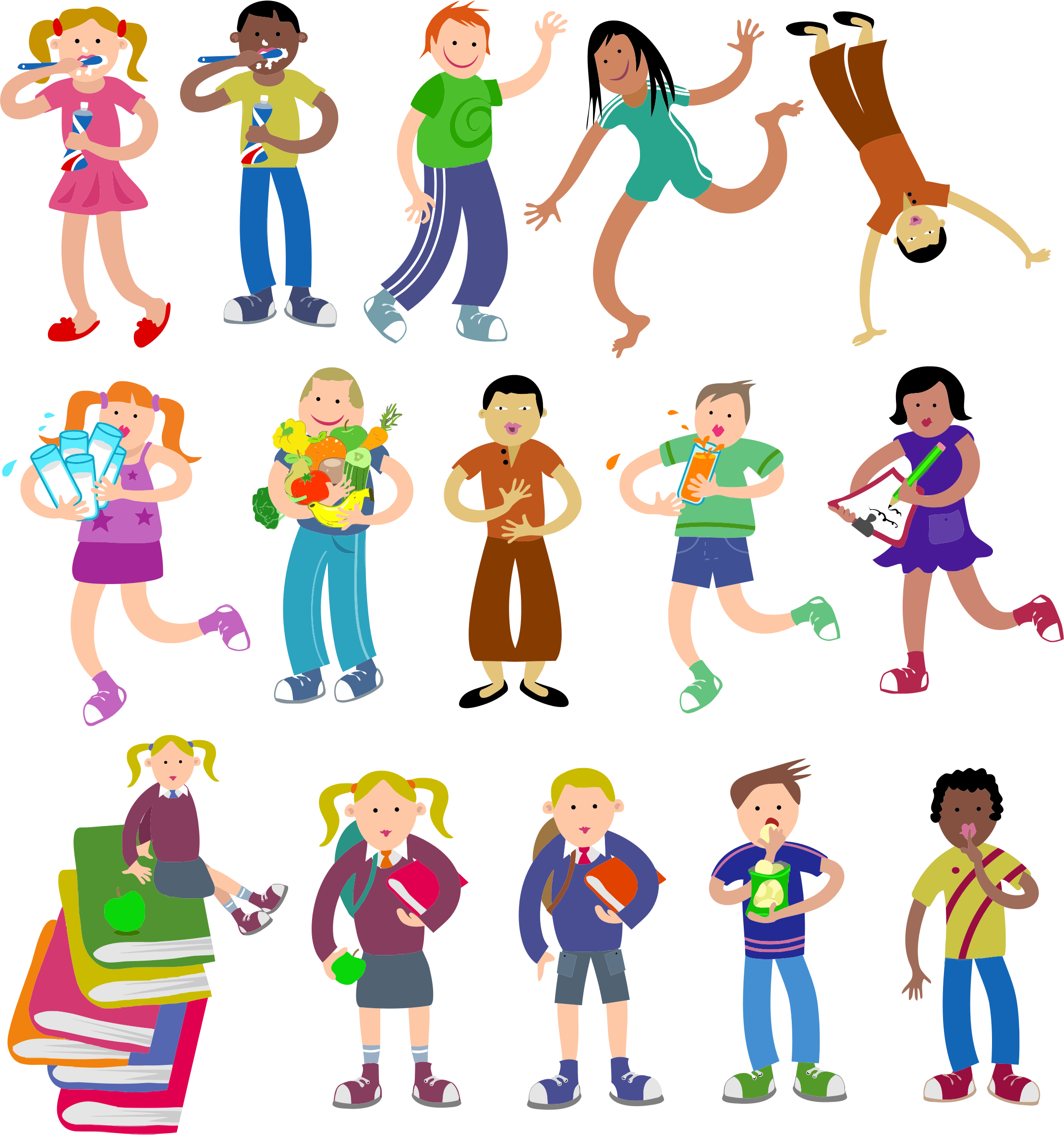 Diverse kids big image. Young clipart chil