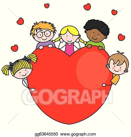 Vector stock group of. Heart clipart child