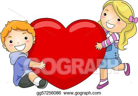 Heart clipart child. Stock illustrations kids hugging