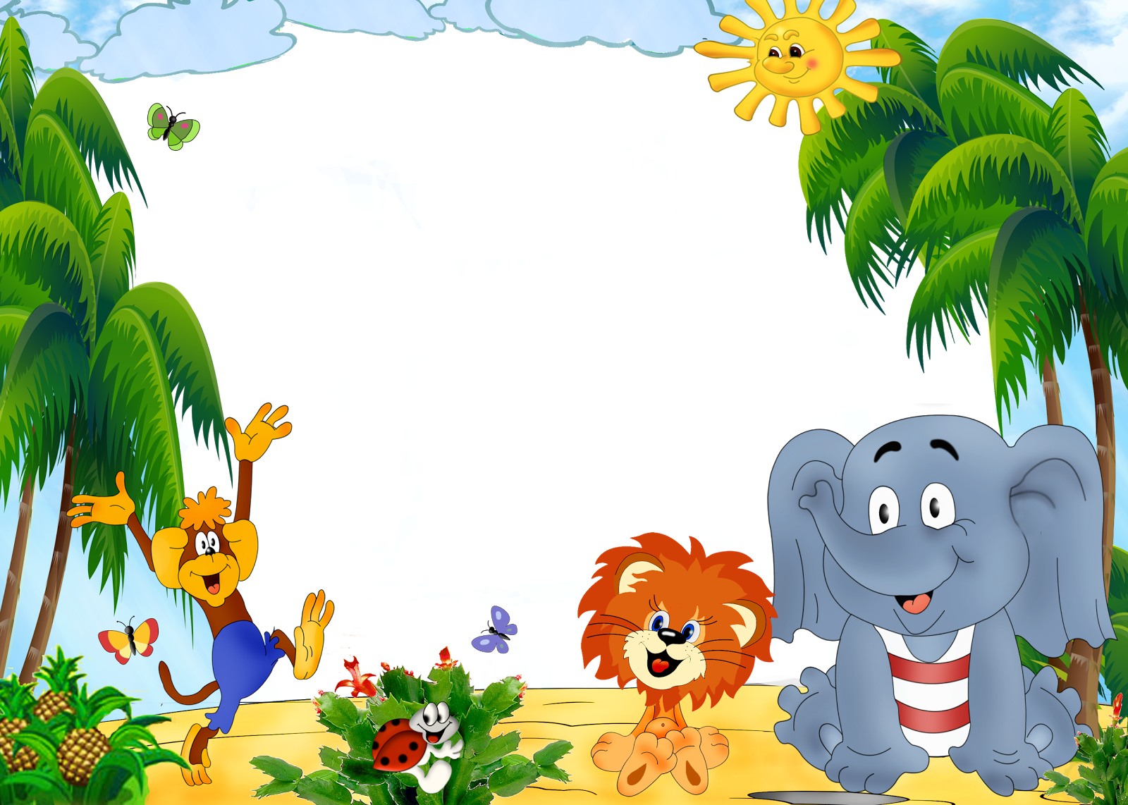 Jungle clipart nature frame. Pin by naenae nanny