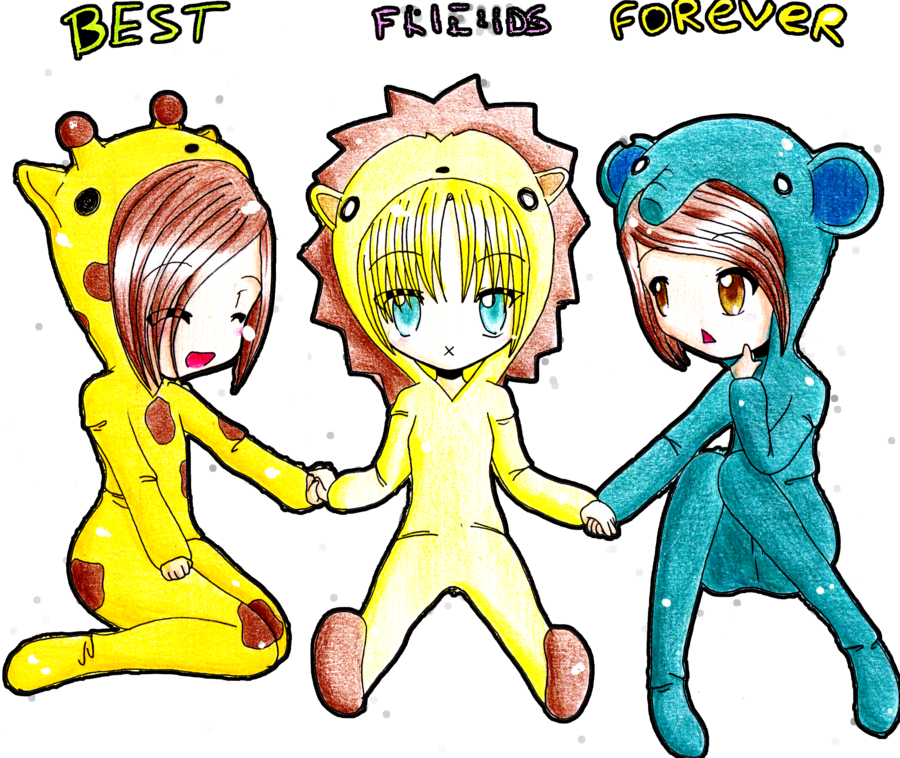 Best friends forever drawing. Friend clipart easy