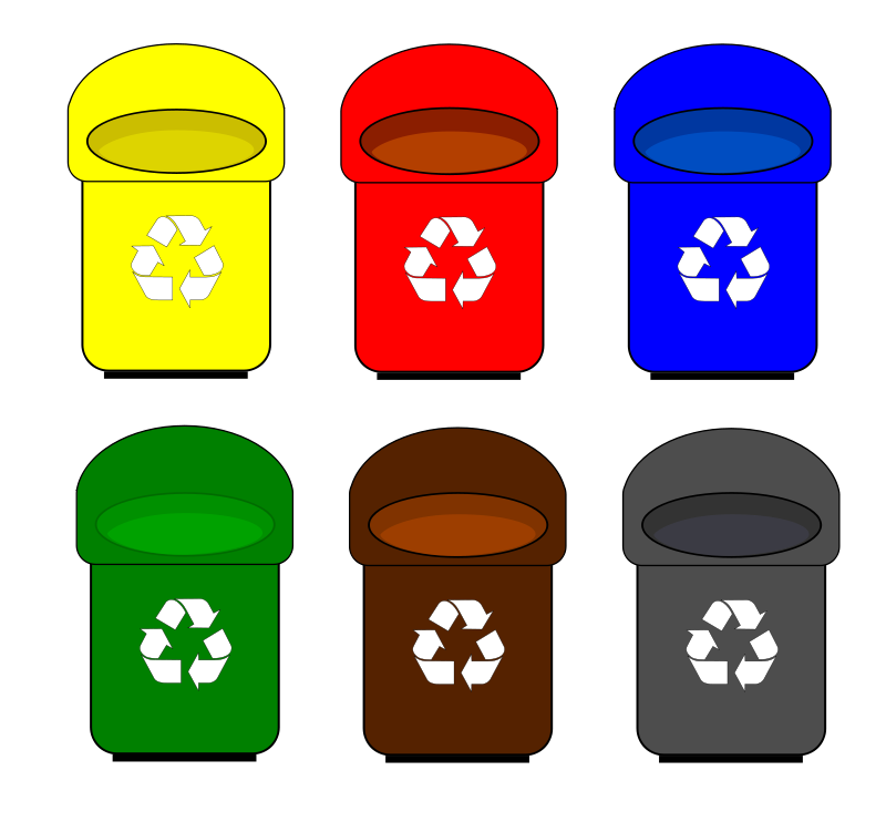 Recycling banks and bins. Pencil clipart bin