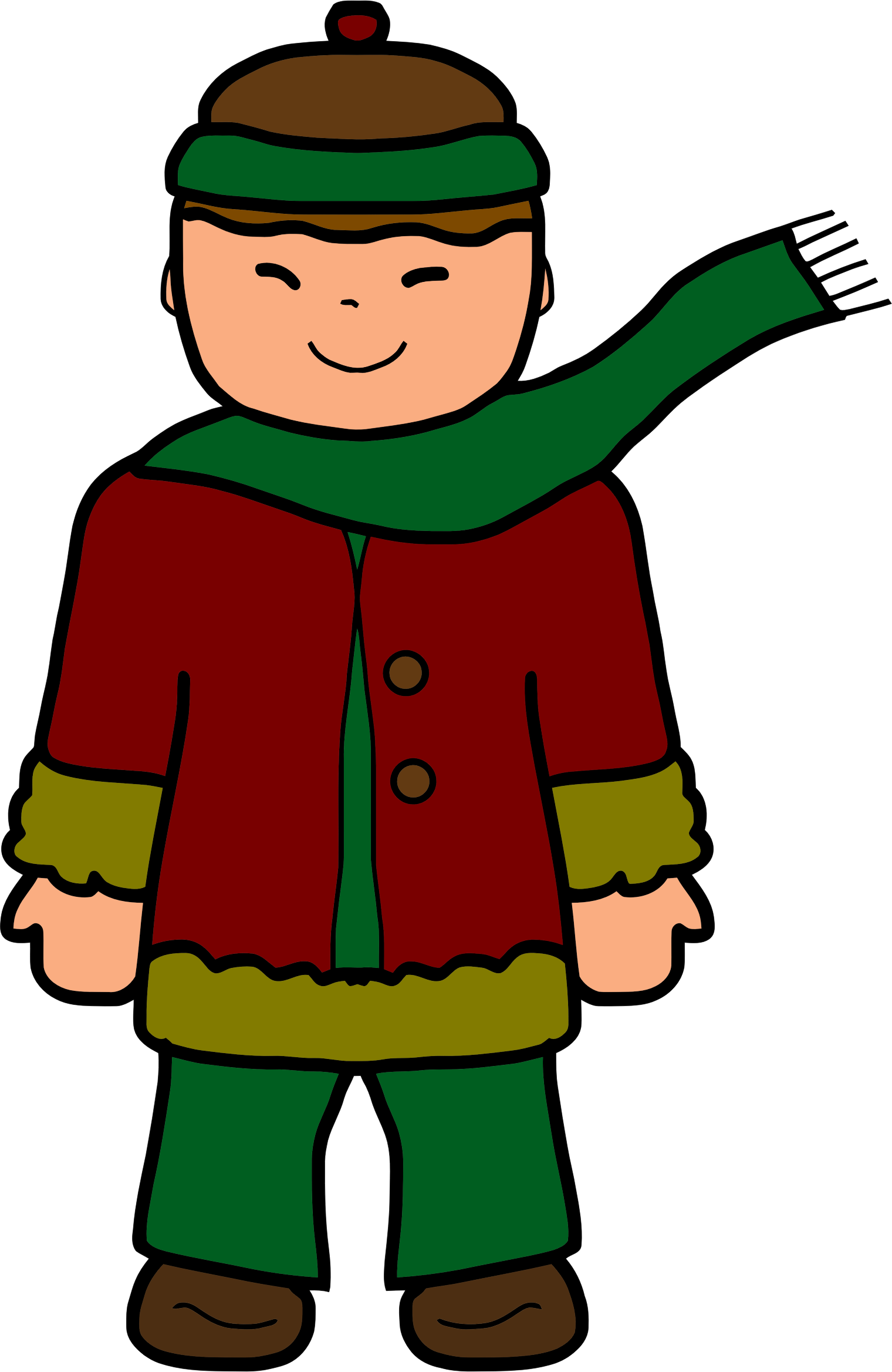 Boy in winter clothing. People clipart clothes