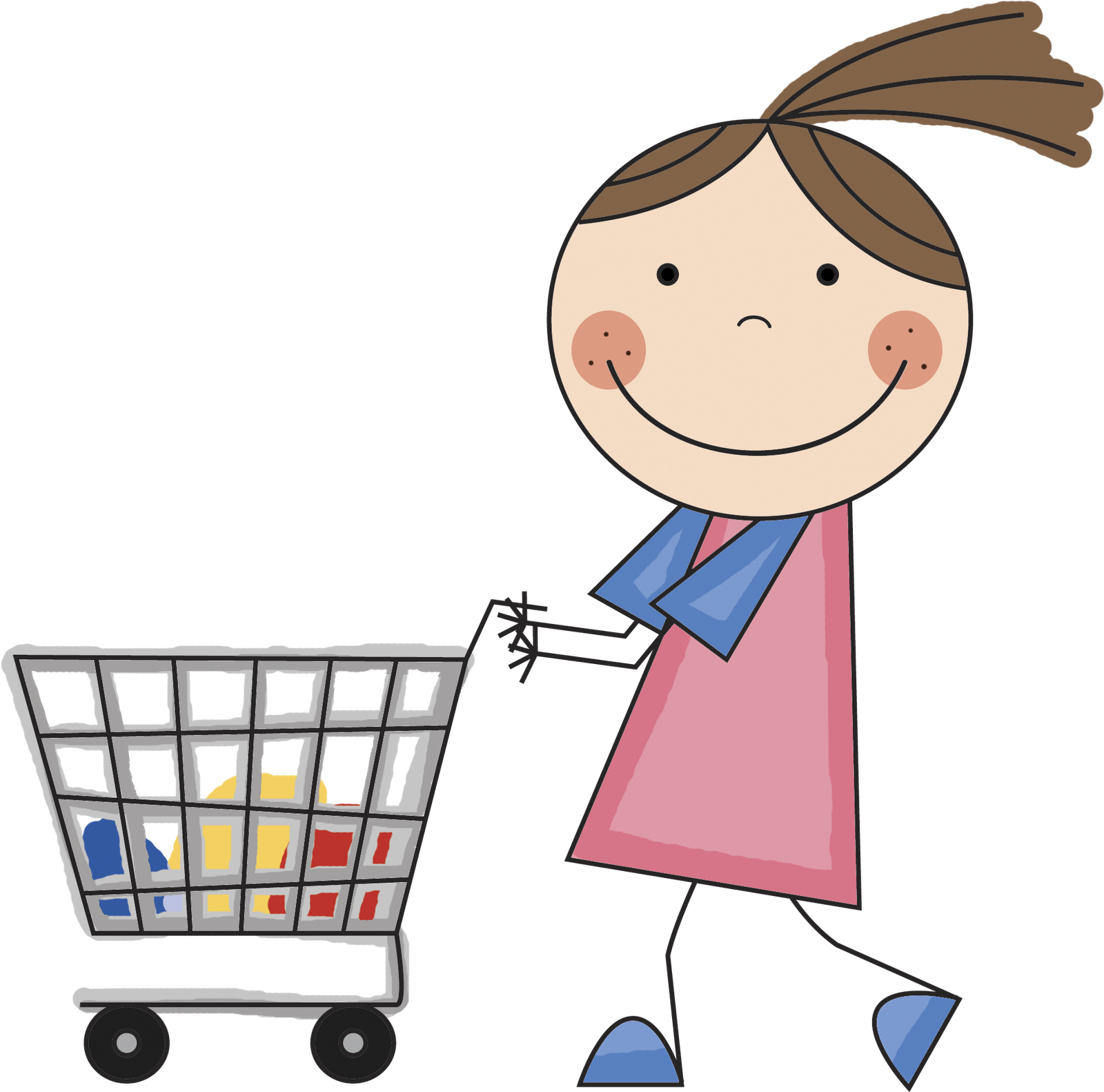 collection of kids. Clipart man grocery shopping