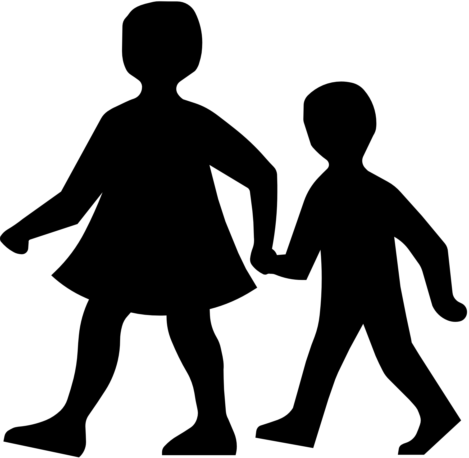 Silhouette of kids playing. Safe clipart kid